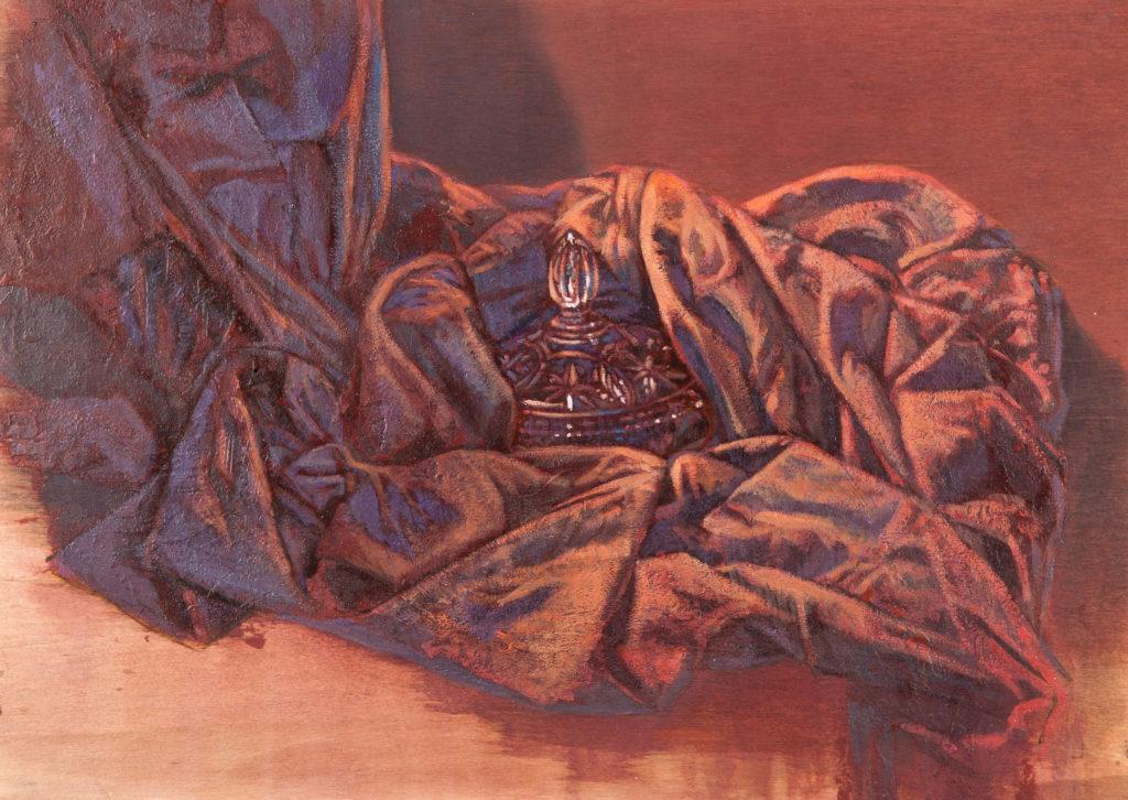 Bombonera tallada entre oleaje de tela II-Juan Vaquerizo