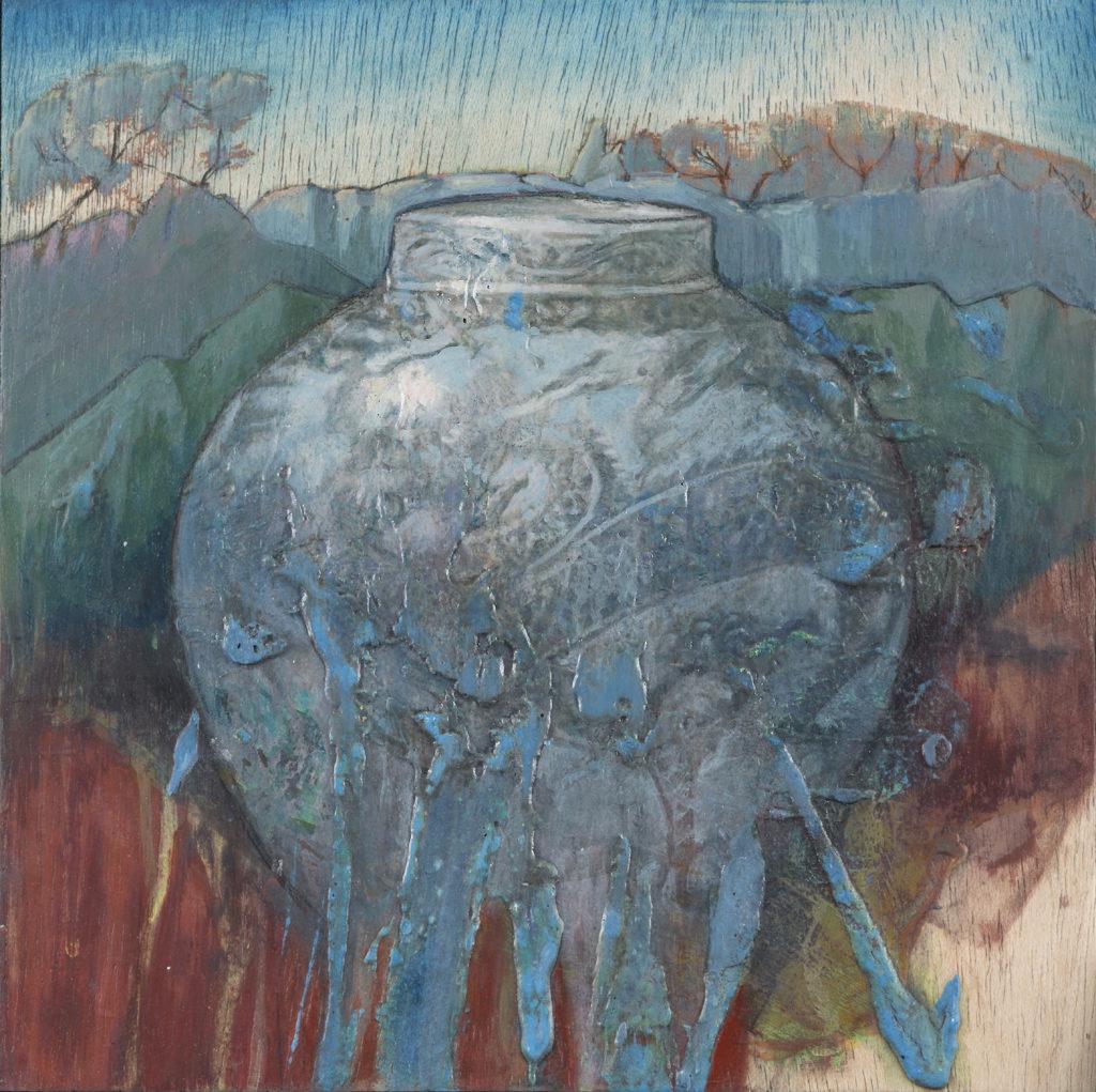 Jarrón de porcelana sobre estampa oriental (III)