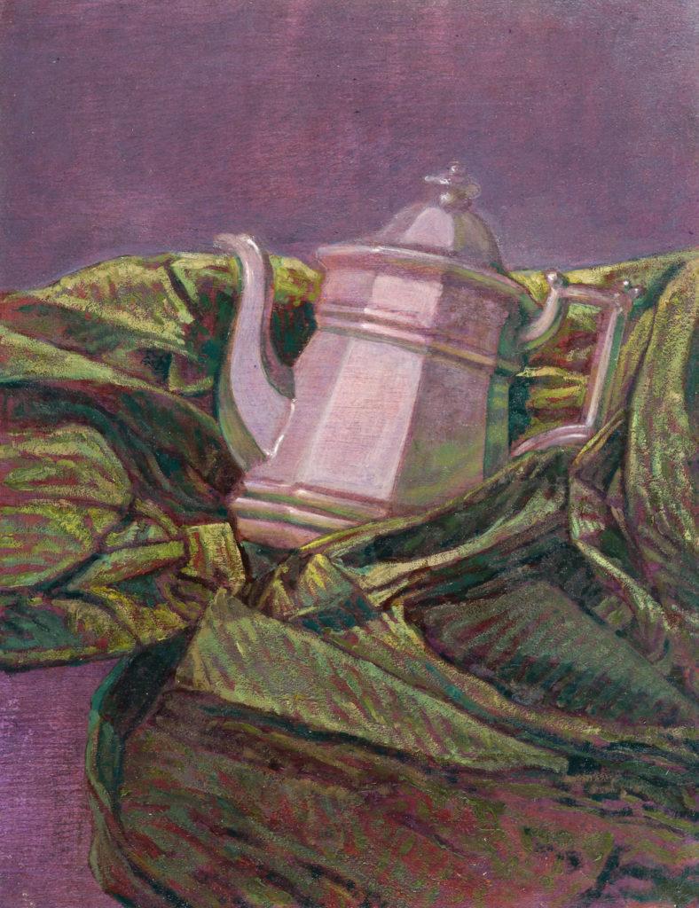 Tetera de metal entre tela gruesa-Juan Vaquerizo