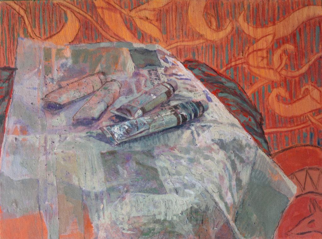 Tubos de óleo sobre papel de periodico con fondo ornamentado-Juan Vaquerizo