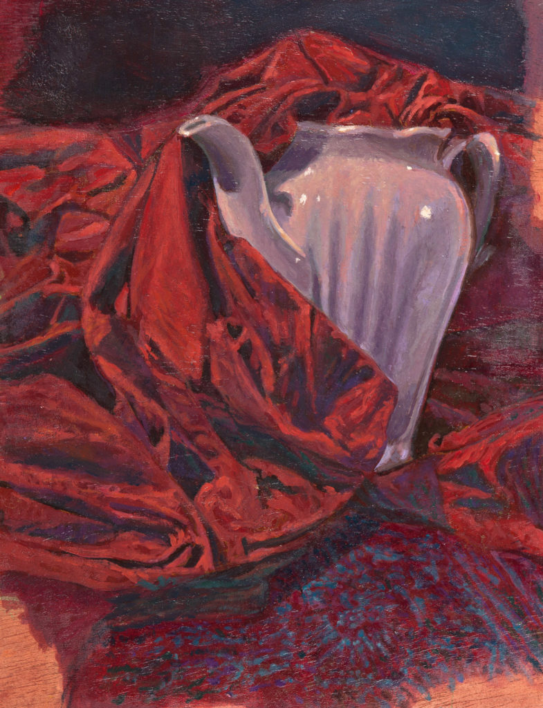 Porcelain pitcher and red cloth -Juan Vaquerizo