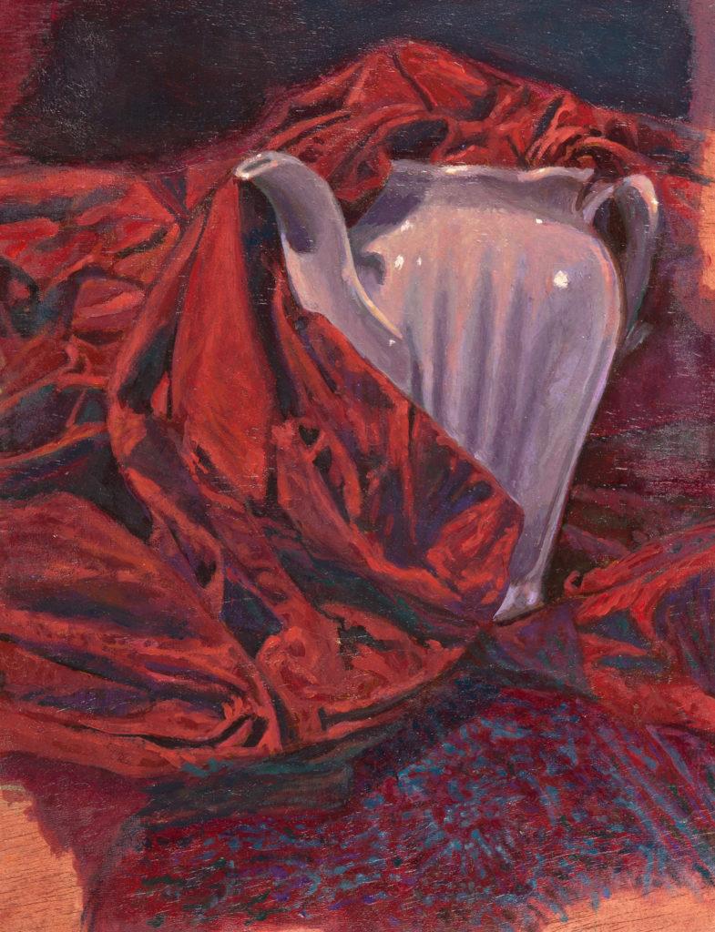 Porcelain pitcher and red cloth -Juan Vaquerizo